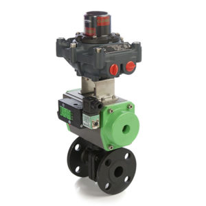 Carbon Steel Flanged 2 Piece Ball Valve with Pneumatic Actuator and ATEX Switchbox