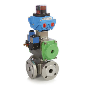 3 Way Flanged Stainless Steel Ball Valve with Pneumatic Actuator ATEX Solenoid Valve and Switchbox