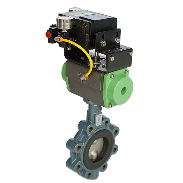 Lugged Cast Iron Butterfly Valve with EPDM Seat, Spring Return Pneumatic Actuator & 4-20mA Electro Pneumatic Positioner