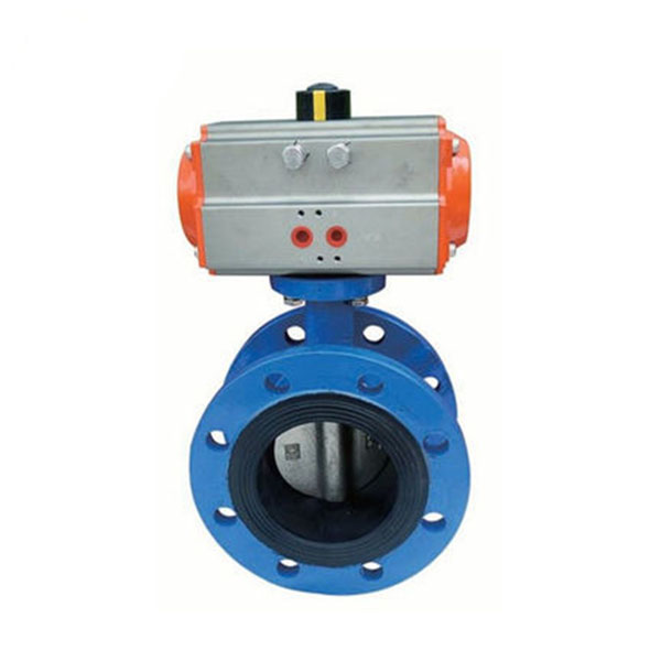 Ductile Iron Double Flanged Butterfly Valve with Spring Return Pneumatic Actuator