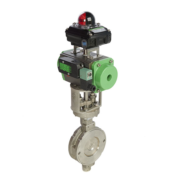 High Performance Wafer Pattern Butterfly Valve with Spring Return Pneumatic Actuator Namur Solenoid Valve and Limit Switchbox