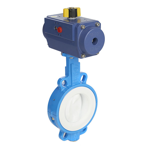 Cast Iron PTFE Lined Wafer Butterfly Valve with PTFE Coated Pneumatic Actuator