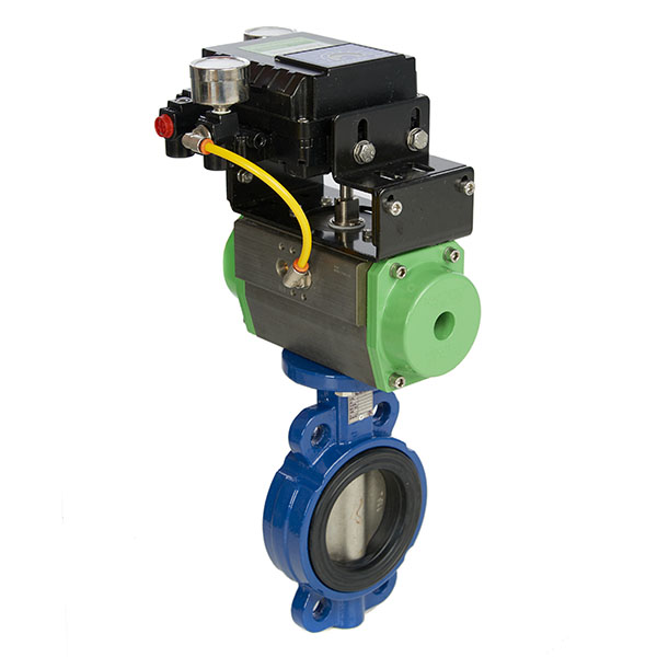 Wafer Pattern Butterfly Valve with Spring Return Actuator and 4-20mA Electro Pneumatic Positioner