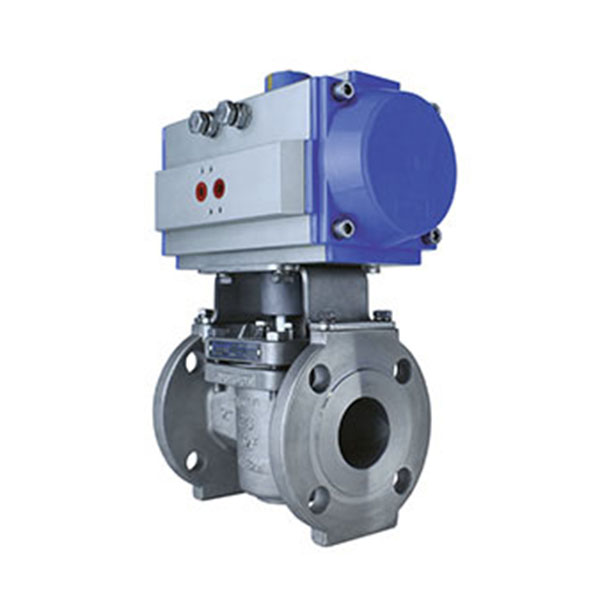 Flanged Plug Valve Stainless Steel with Pneumatic Actuator