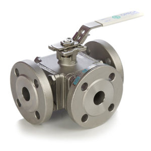 3 Way Flanged Stainless Steel Ball Valve with Lockable Lever