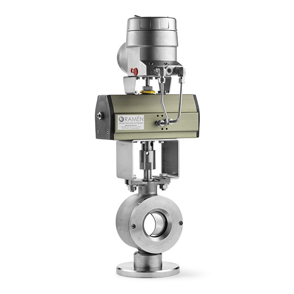 Stainless Steel Wafer Ball Sector Control Valve with Pneumatic Double Acting Actuator and PMV Digital Positioner