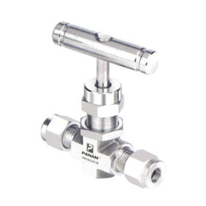 Stainless Steel Needle Valve with Compression ends and a T Bar Operator