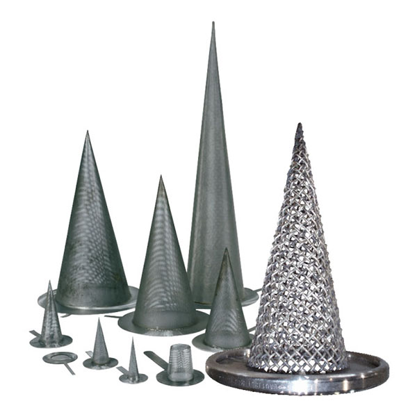 A number of different sized conical strainers with different levels of filtration
