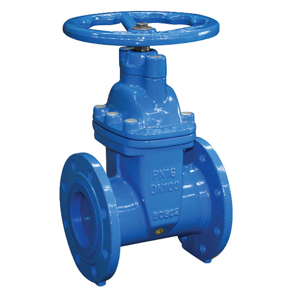 Cast Iron Gate Valve Flanged PN16 with Handwheel (painted blue)