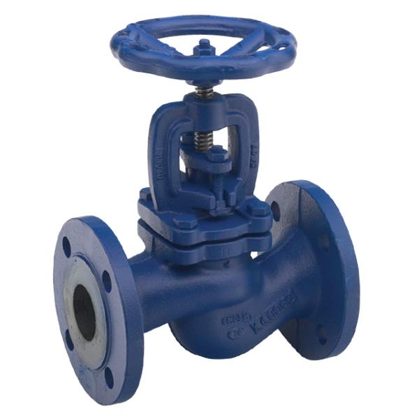 Cast Iron Globe Valve Flanged PN16 with Handwheel (painted blue)