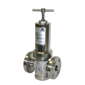 Flanged stainless steel pressure sustaining valve.