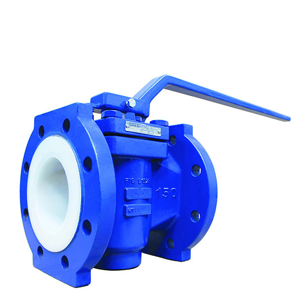 PTFE Lined Flanged Plug Valve Lever Operated