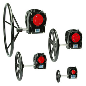 4 different sized cast iron manual gearboxes with indicators and handwheels