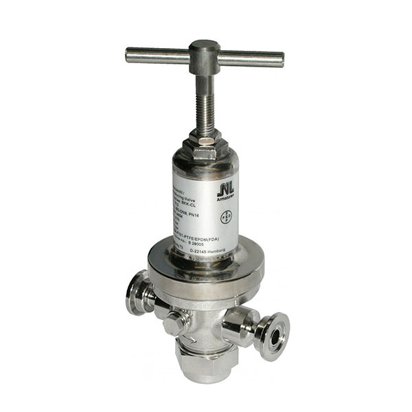 Tri-Clamp stainless steel pressure sustaining valve.
