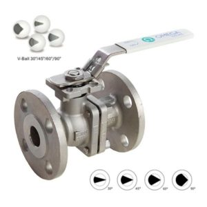 Flanged Stainless Steel Ball Valve fitted with V Ball for Control