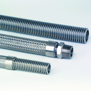 Three different types of stainless steel flexible hose with one having a screwed male end connection.